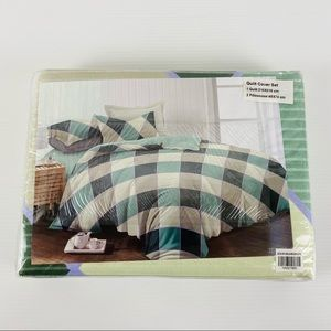 Green Multicolored Queen Quilt Cover Set